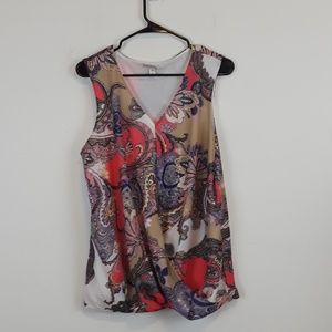 Dana Buchman Paisley print mock wrap blouse